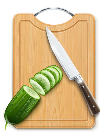 ripe cucumber cut segment on board with knife vector illustration isolated on white background. Transparent objects used for shadows and lights drawing Vettoriali