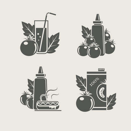 tomato products set icons vector illustration Vector