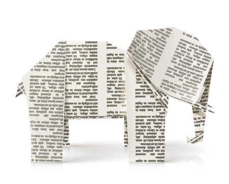 olifant origami paper toy vector illustratie geà ¯ soleerd op een zwarte achtergrond EPS10 Transparante objecten worden gebruikt voor schaduwen en lichten tekenen Stock Illustratie