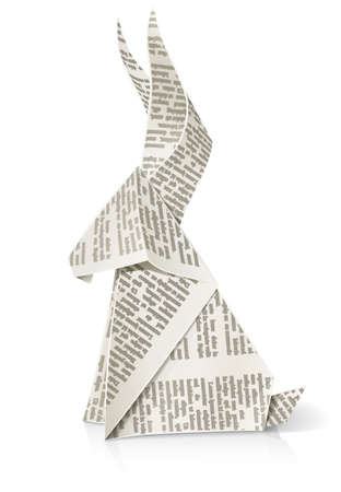 rabbit paper origami toy vector illustration isolated on white background. Transparent objects used for shadows and lights drawing