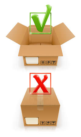boxes with OK and cancel mark vector illustration isolated on white background