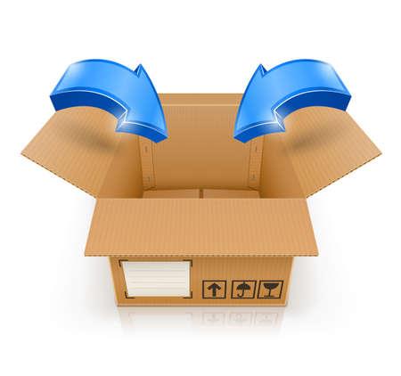 geopende doos met pijl in vector illustratie geïsoleerd op witte achtergrond Stock Illustratie