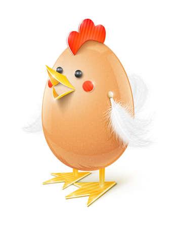 chicken egg handicraft vector illustration isolated on white background