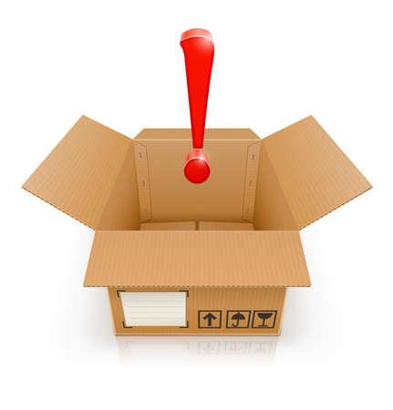 exclamatory: opened box with exclamation mark vector illustration isolated on white background Illustration