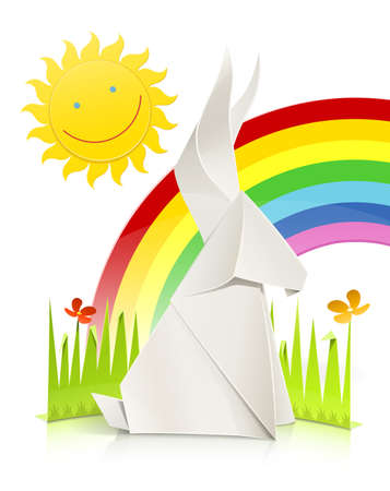 nature scene with rabbit made of paper vector illustration isolated on white background