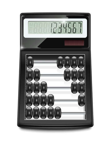 electronic calculator abacus vector illustration isolated on white background   イラスト・ベクター素材