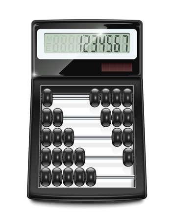 abacus: elektroniczny kalkulator ilustracji wektorowych liczydło na białym tle
