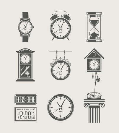 reloj de pendulo: conjunto retro y moderno reloj icono de ilustraci�n vectorial