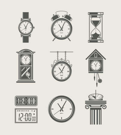 vintage clock: retro and modern clock set icon vector illustration