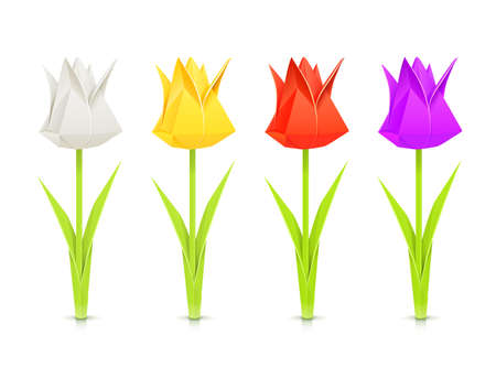 set of tulips paper origami flowers vector illustration isolated on white background EPS10. Transparent objects and opacity masks used for shadows and lights drawing Vettoriali