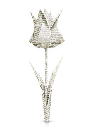 tulp papier origami bloem vector illustratie geïsoleerd op een witte achtergrond EPS10. Transparante objecten en dekkingsmaskers gebruikt voor schaduwen en lichten tekenen Stock Illustratie