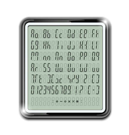 opacity: electronic calculator font vector illustration EPS10. Transparent objects and opacity masks used for shadows and lights drawing