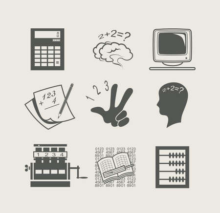 adding: devices for calculation set icon vector illustration Illustration