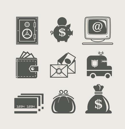 banking and finance set icon illustration 일러스트