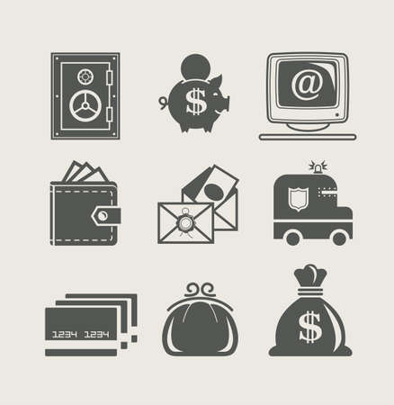 bag of money: banking and finance set icon illustration Illustration
