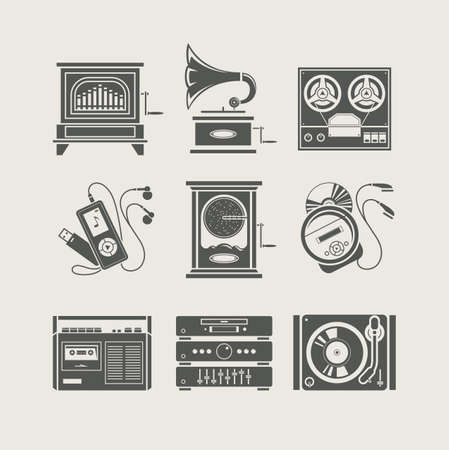 compact cassette: musical device set of icon Illustration