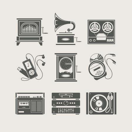 musical device set of icon Stock Illustratie