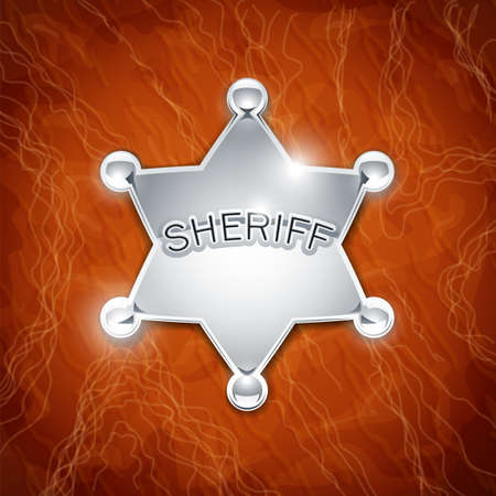 sheriff's metallic badge as star on leather texture vector illustration on background EPS10. Transparent objects and opacity masks used for shadows and lights drawing