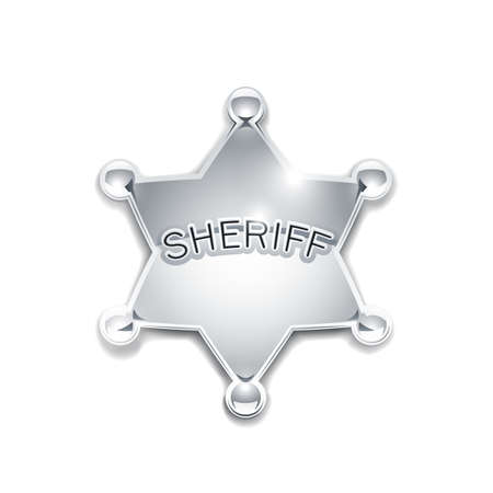 sheriffs: sheriffs metallic badge as star vector illustration isolated on white background EPS10. Transparent objects and opacity masks used for shadows and lights drawing