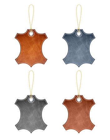 leather label vector illustration isolated on white background EPS10. Transparent objects and opacity masks used for shadows and lights drawing