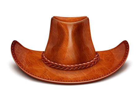 모자: 카우보이의 가죽 모자 스텟 슨의 벡터 일러스트 레이 션 흰색 배경 EPS10입니다. 그림 그림자와 조명에 사용되는 투명 개체 및 불투명 마스크