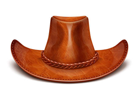 sombrero: de cuero vaquero sombrero Stetson ilustraci�n vectorial aislados en fondo blanco EPS10. Los objetos transparentes y las m�scaras de opacidad para las sombras y las luces de dibujo