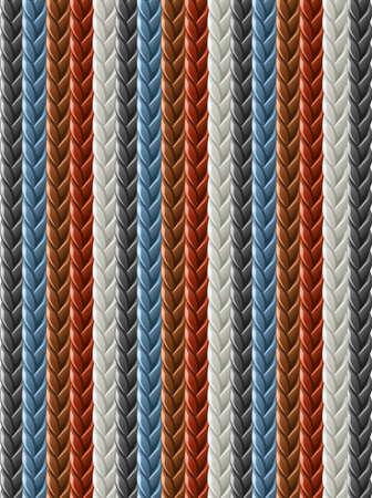leather seamless braided plait texture vector illustration isolated on white background Illustration
