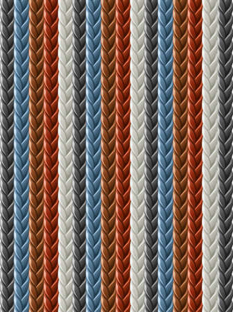 leather seamless braided plait texture vector illustration isolated on white background Vettoriali