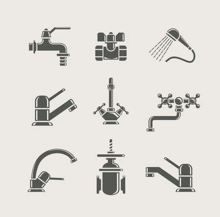 붓는 것: 물 세트 아이콘에 대한 물 공급 꼭지 믹서, 탭, 밸브 일러스트
