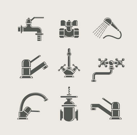 on tap: water-supply faucet mixer, tap, valve for water set icon