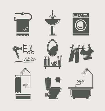bathroom icon: bathroom equipment set icon