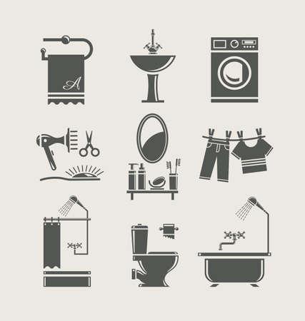 lavabo: Equipamiento de Ba�o conjunto de iconos Vectores
