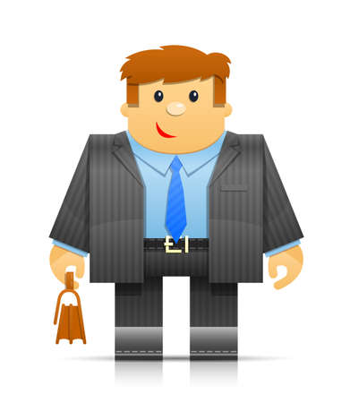folks: businessman origami toy. Transparent objects and opacity masks used for shadows and lights drawing Illustration