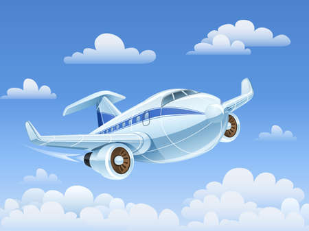 passenger airplane flying in sky vector illustration. Transparent objects and opacity masks used for shadows and lights drawing