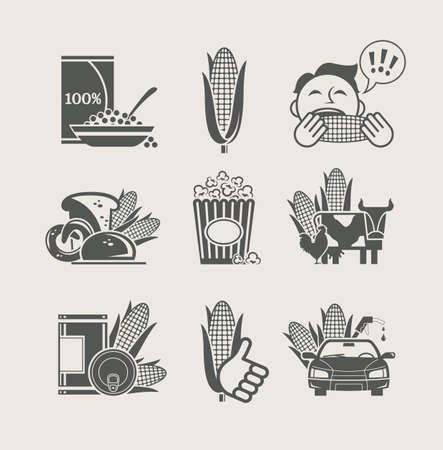 canned food: corn and products set icon vector illustration Illustration