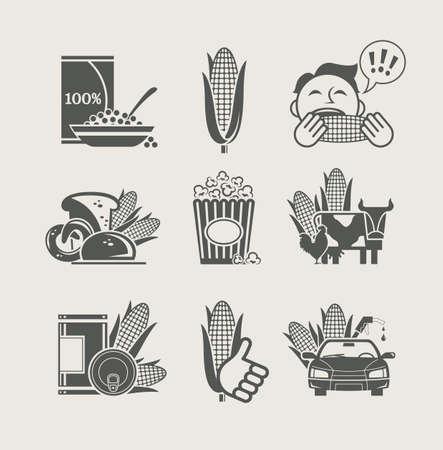 palomitas de maiz: ma�z y productos a que se ic�nico ilustraci�n vectorial Vectores