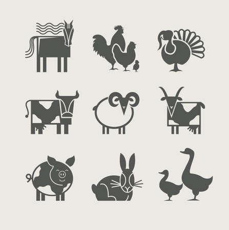 vaca: animales en casa set de iconos ilustraci�n vectorial