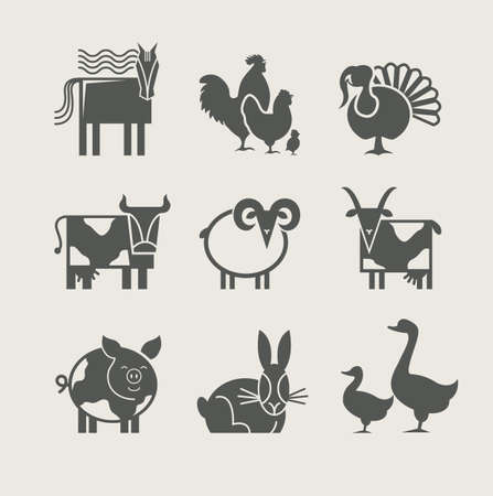 mountain goats: home animal set icon vector illustration