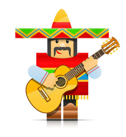 mexico cartoon: mexicano man origami toy illustration isolated on white background. Transparent objects and opacity masks used for shadows and lights drawing