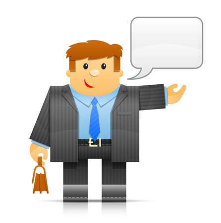 folks: businessman origami toy illustration isolated on white background. Transparent objects and opacity masks used for shadows and lights drawing Illustration