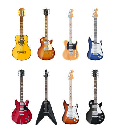 rock guitar: acoustic and electric guitars set of icon illustration isolated on white background. Transparent objects and opacity masks used for shadows and lights drawing