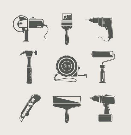 tool icon: strumento icona edificio isolato su sfondo Vettoriali
