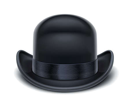 bowler hat vector illustration isolated on white background. Transparent objects and opacity masks used for shadows and lights drawing