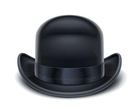 chapeau blanc: illustration vectorielle chapeau melon isol� sur fond blanc. Les objets transparents et masques d'opacit� utilis�es pour les ombres et les lumi�res de dessin Illustration