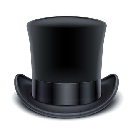 black hat: black top hat illustration isolated on white background EPS10. Transparent objects and opacity masks used for shadows and lights drawing