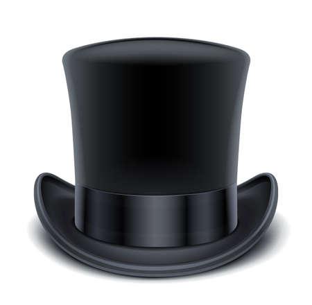 sombrero: ilustraci�n en negro sombrero de copa aislados en EPS10 fondo blanco. Los objetos transparentes y las m�scaras de opacidad para las sombras y las luces de dibujo