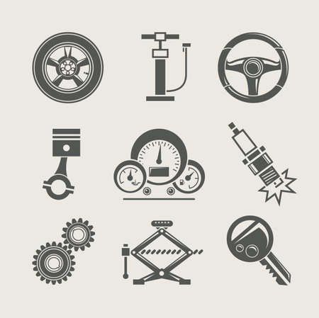 fix gear: car part set of repair icon