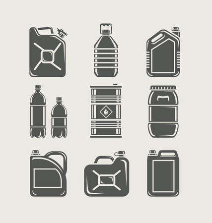Materiale plastico e metallico può impostare l'icona illustrazione vettoriale Archivio Fotografico - 14201448