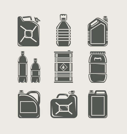 petrol can: pl�sticos y met�licos pueden establecer icono ilustraci�n vectorial