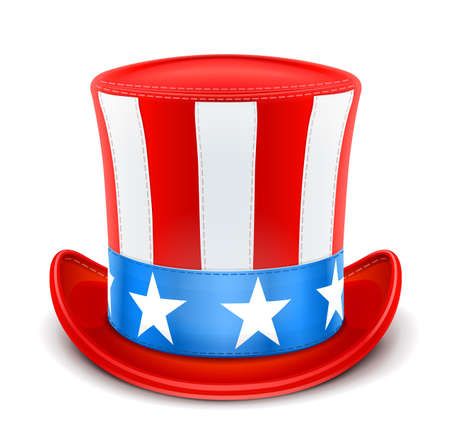 usa top hat for independence day vector illustration isolated on white background EPS10. Transparent objects and opacity masks used for shadows and lights drawing Vettoriali